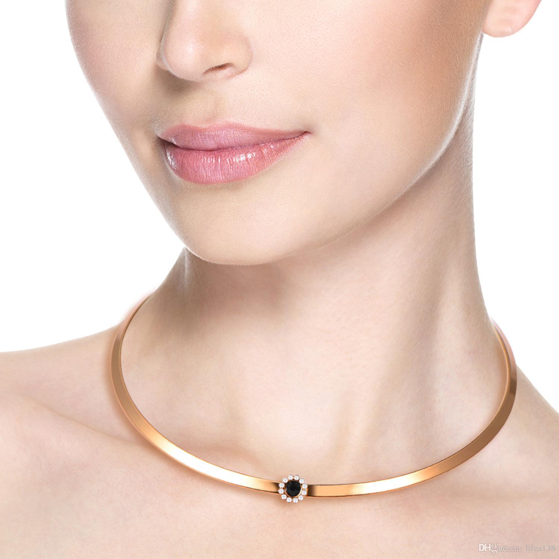 Mode Stil Einfache Kragen Armband Set 18 Karat Gold Choker Kragen Halskette Schmuck Set Großhandel Im Drop Shipping