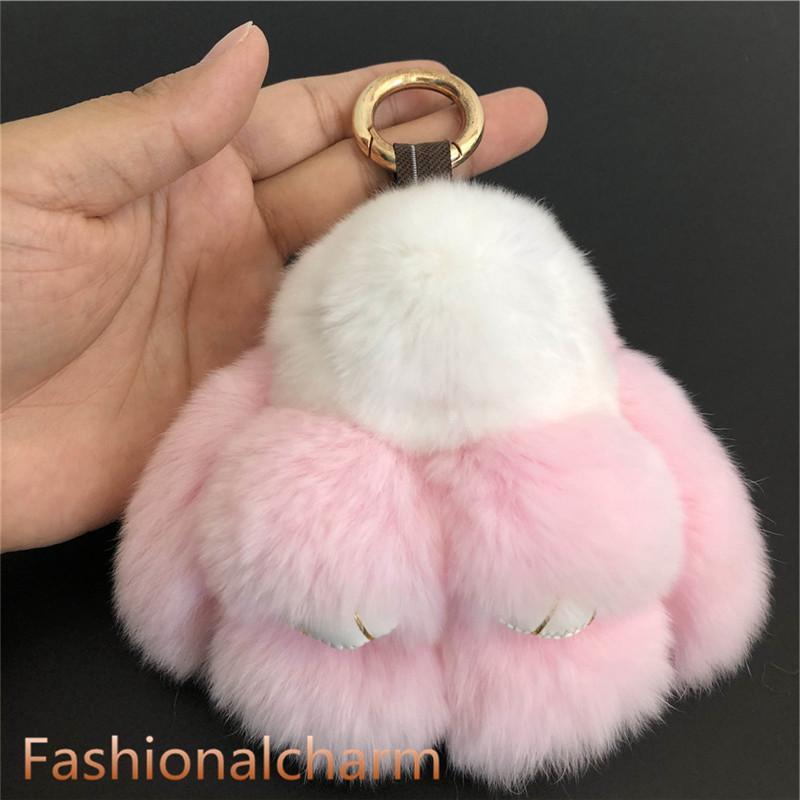 Beyaz / Pembe-10cm Gerçek hakiki Rex Tavşan Kürk Tavşan Doll Oyuncak Çocuk Hediye Çanta Charm Anahtarlık Anahtarlık Aksesuarları Telefon Cüzdan Çanta