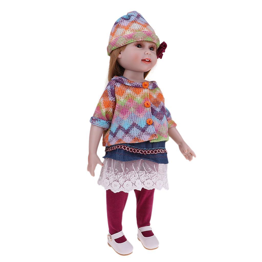 18 Zoll-Mode-Puppe Abby, lange gerade Braunes Haar, Soft-Touch-Nizza - Enthält Kleid, Hut, Hose, Schuhe - Kinder Mädchen Perfektes Geschenk Playmate