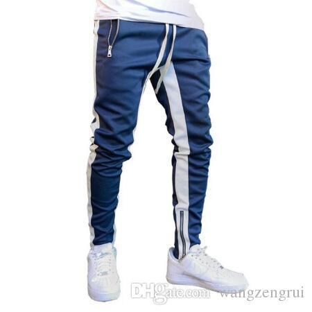 Los pantalones jogging ejecutar Hombres Zipper Joggers Training Running pantalones de deporte de los hombres de rayas pantalón pantalones pantalones de deportes de pista