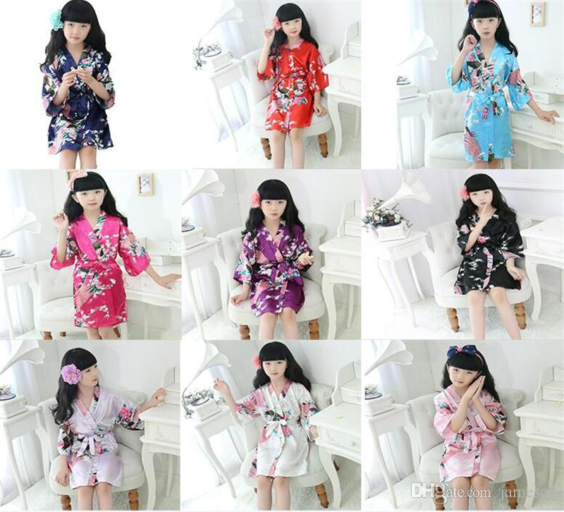 9 style Children bathrobe peacock wedding flower girl robe kimono stain silk night dresses for children summer sleepwear pajamas kid clothes