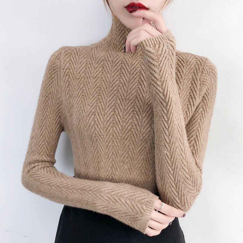 Underwear Mulher Outono e Inverno 2019 New camisola Magro inferior shirt de manga comprida apertada malha shirt espessamento T200101