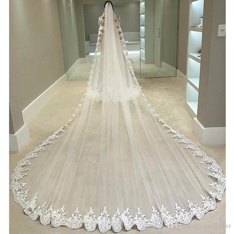 Chapel 5M Long Veil For Bride Ivory White Lace Trim Edge With Free Comb One Tier Wedding Veils High Quality Tulle Appliques