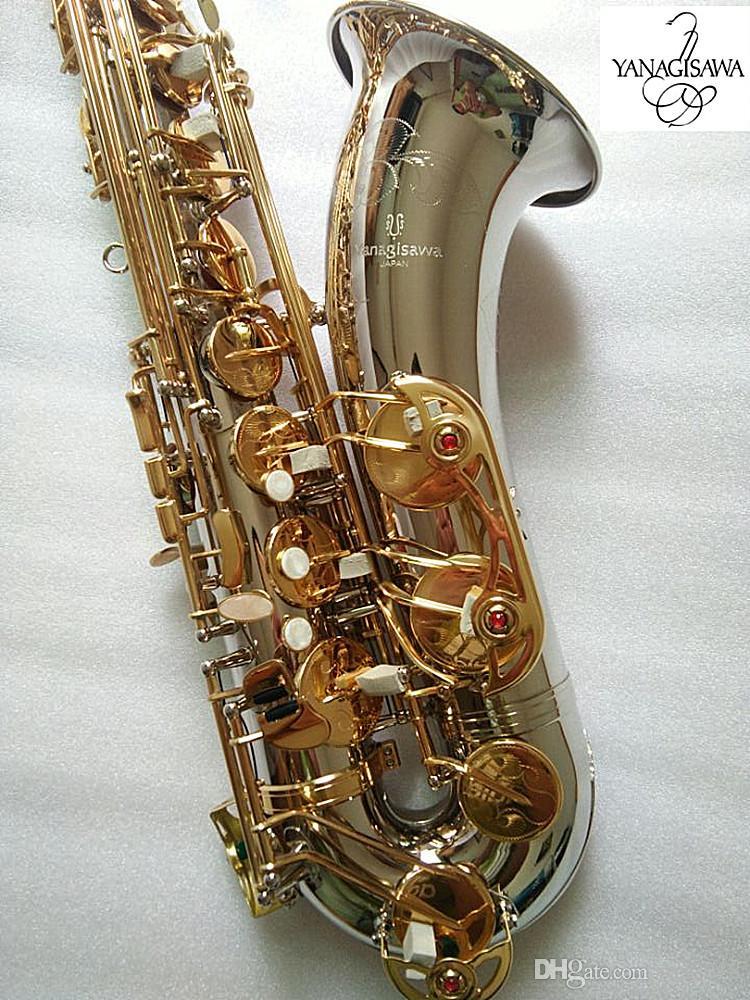 Nueva saxo tenor Yanagisawa T-9930 saxofón tenor Instrumentos Musicales Bb Tono de níquel plateado Tubo Gold Key Sax con el caso Mouthpiec