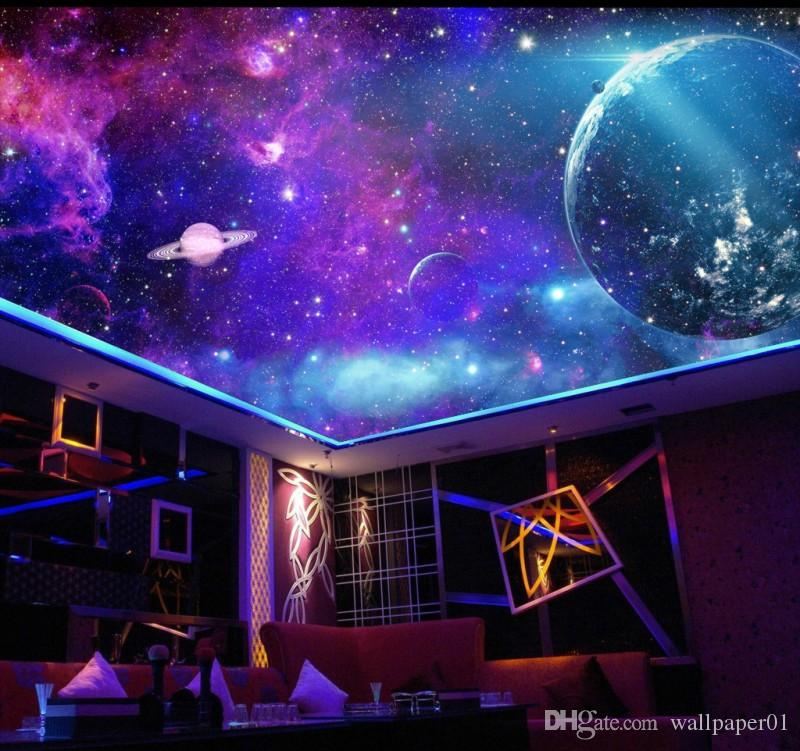 Фантазия красочных галактик звездного Туманность комната потолок картина потолок фон обои 3D Mural