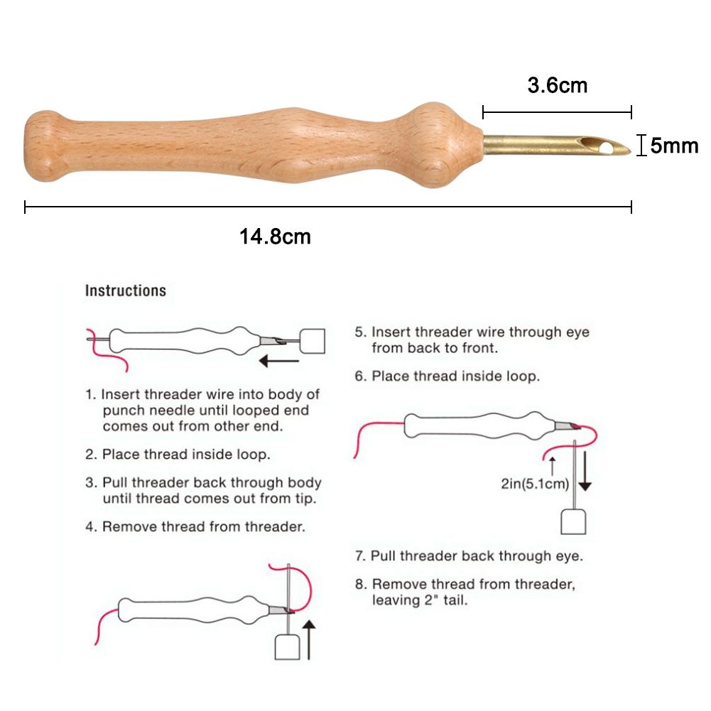 Magic Embroidery Pen Punch Needle Felting Threader Cloth Set Wooden Handle