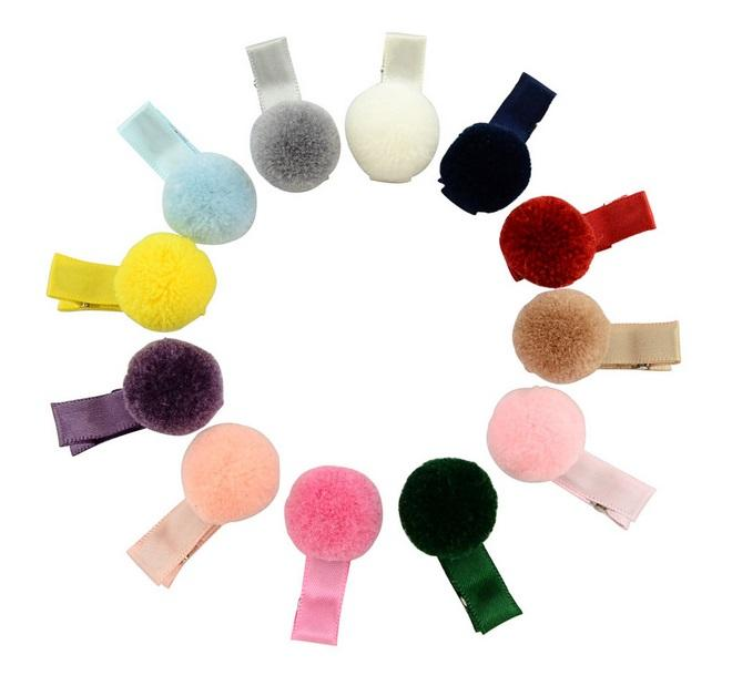 12 Colors Small Lovely Colorful Fur Ball Girls Solid Hairclip Kids Hairpins Hair Accessory Beautiful Gift For Little Girls 668