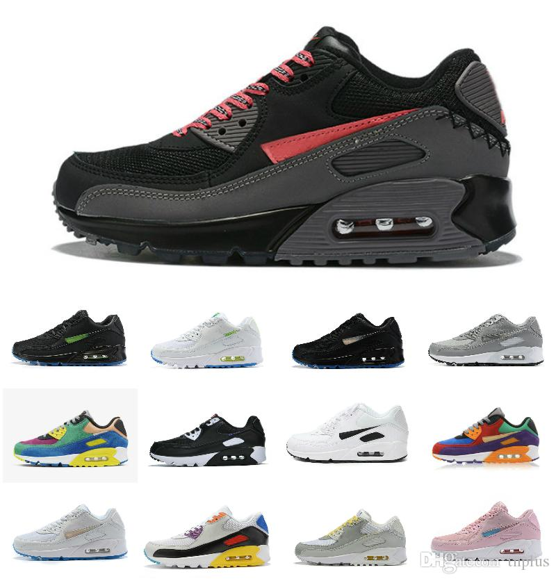 VIOTECH BE TRUE 2019 Men Women Sneaker Classic 90 Running QS Shoes Infrared South beach Sports Trainer Air Cushion Surface Breathable Shoe