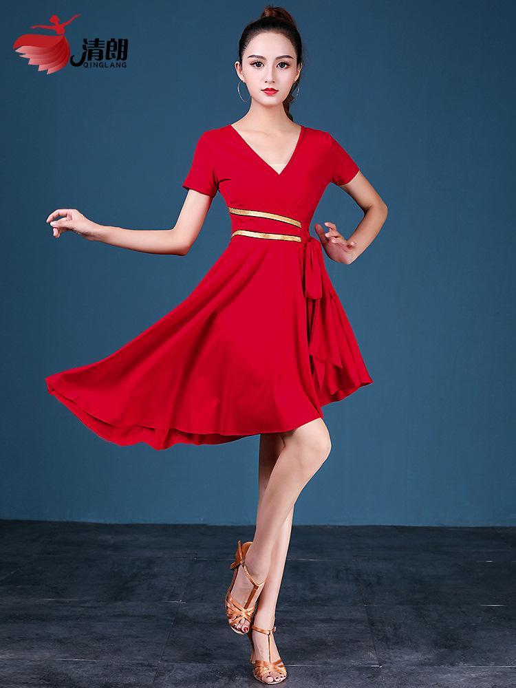 Длинные бальные и латинские танцы платье взрослых женщин сценическое шоу Костюмы стандартная практика юбка Самба Чача Румба 2 цвета B0036