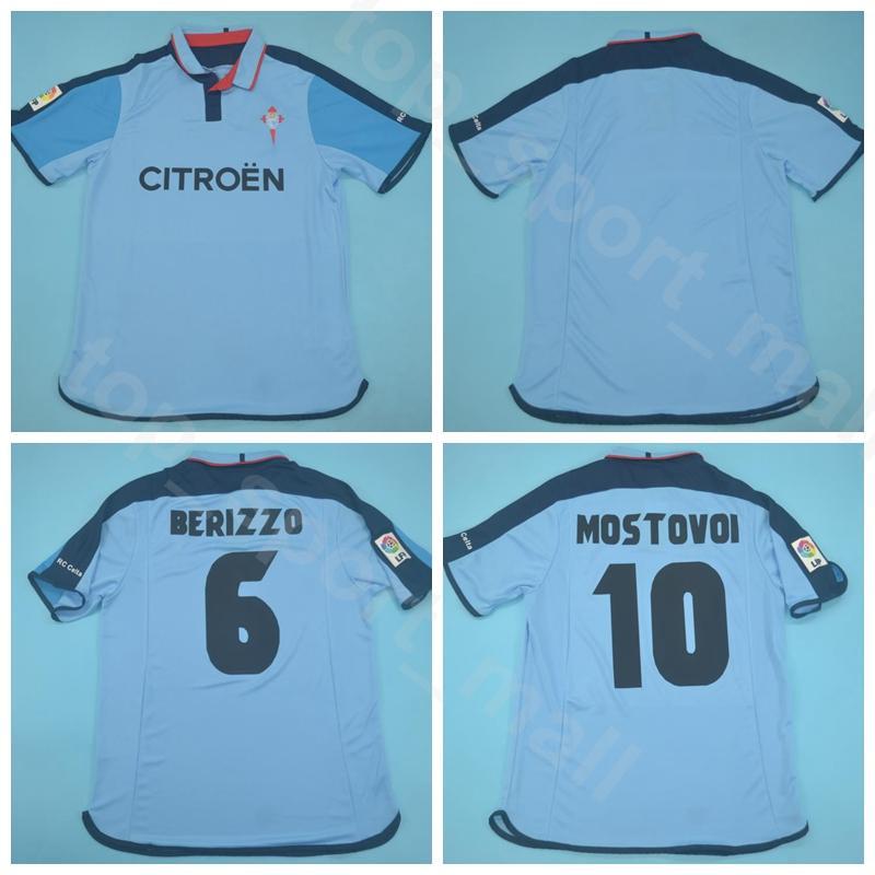 2003 أطقم قميص 2004 RC سيلتا فيغو ريترو جيرسي الرجال لكرة القدم 10 ألكساندر موستوفوي 6 BERIZZO 7 فاجنر فريق اللون الأزرق لكرة القدم