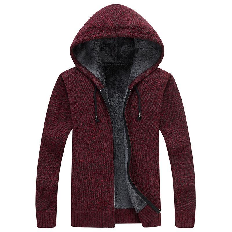 2018 зима новый мужской флис Sweatercoat мода с капюшоном тонкий жир сгущает повседневный свитер мужчины кардиган Masculino M-3xl Af1761 T200506