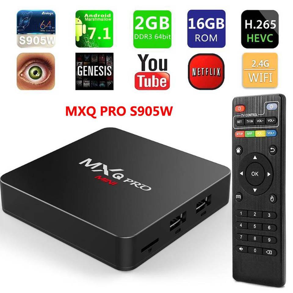 مربع التلفزيون الذكية MXQ PRO 4K الروبوت 7.1 TV AMLogic نوع S905W رباعية النواة 2GB 16GB H.265 2.4GHZ لواي فاي ميديا بلاير تعيين الأعلى