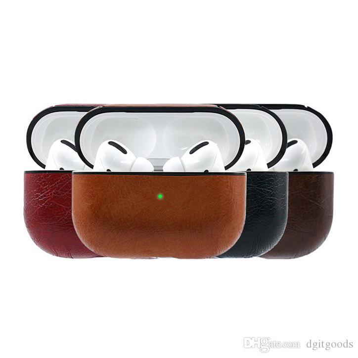 Fone de ouvido protetor para Airpods Pro Capa protetora PU couro para AIRPod 3 Geração de Caixa com gancho