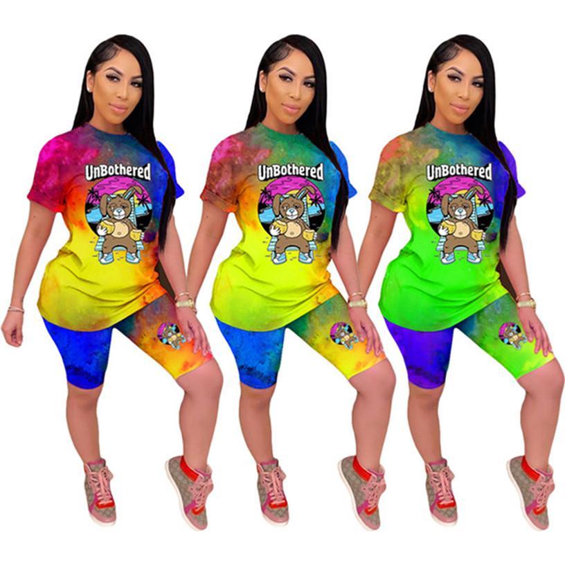 Женщины дизайнера 2 шт наборы футболка шорты галстук-краситель спортивного костюма печать лето повседневной одежды костюм S-2XL Sweatsuit капри DHL 3027