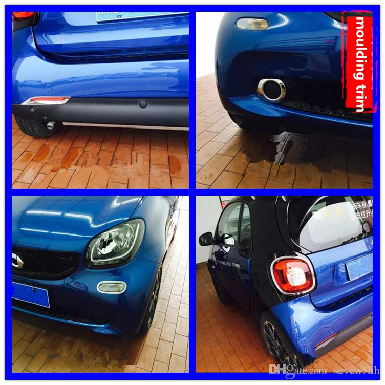 2pcs Car Front Rear Fog Lamp Moulding Trim Tail Light Turn Signal Light Cover Sticker for Smart fortwo 2015 2016 2017 2018