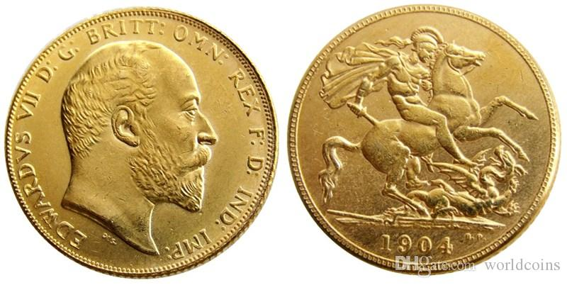 İNGILTERE Nadir 1904 İngiliz sikke Kral Edward VII 1 Egemen Matt 24-K Altın Kaplama Kopya Paralar Ücretsiz Kargo