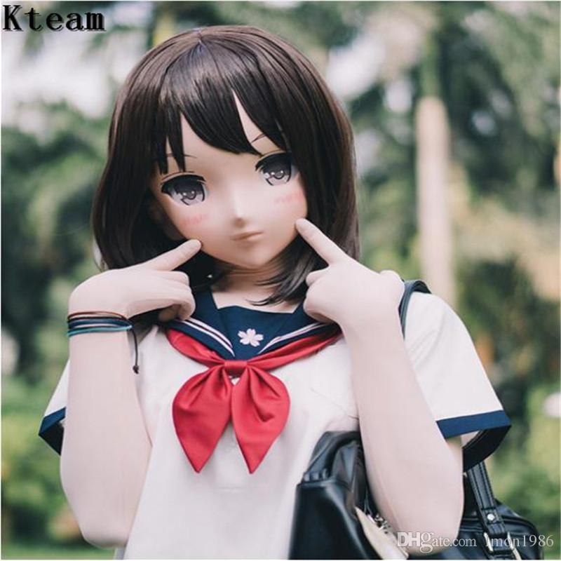 Female Sweet Girl Latex Half Head Kigurumi Mask Eyes Cosplay Japanese Anime Role Lolita Mask Crossdress Doll face make up
