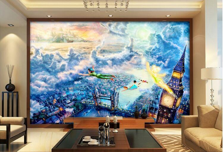 3d wallpaper benutzerdefiniertes foto märchen kinder fliegen mann malerei wohnzimmer wohnkultur 3d wand muals tapeten für wände 3 d