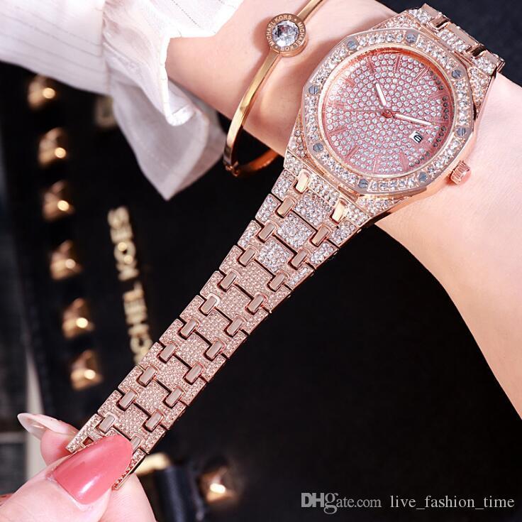 Новый бренд дизайнер Дамы платье золота кварцевые часы Женщины Алмазный браслет Relogio Feminino Rhinestone Часы для женщин Часы наручные Подарки # 351