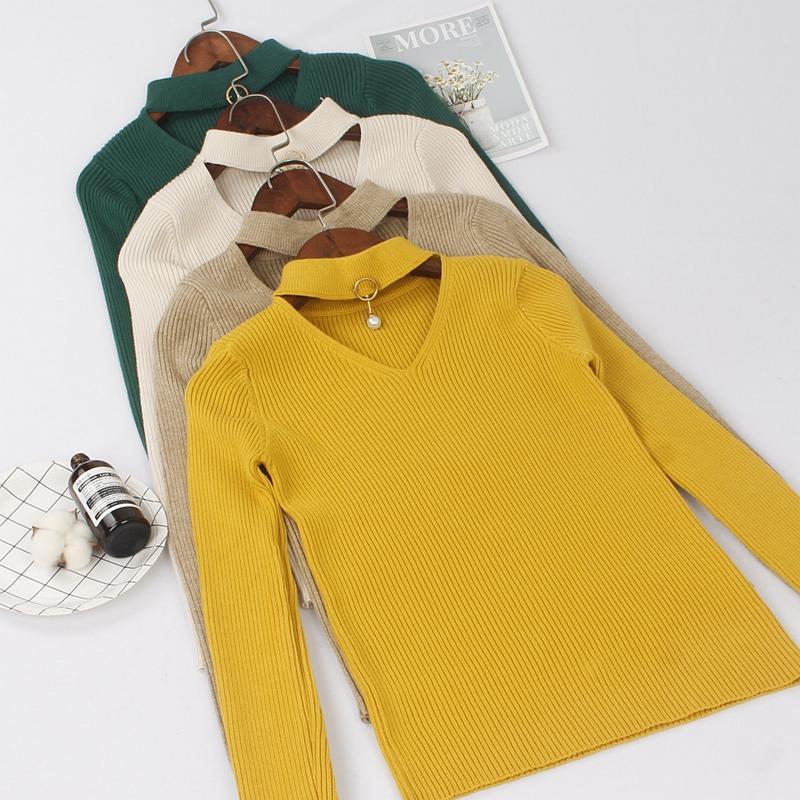 ONLYSVTER grueso con cuello en V jersey y mujeres del suéter del invierno caliente del otoño de punto Jumper hembra atractiva de la tapa del suéter