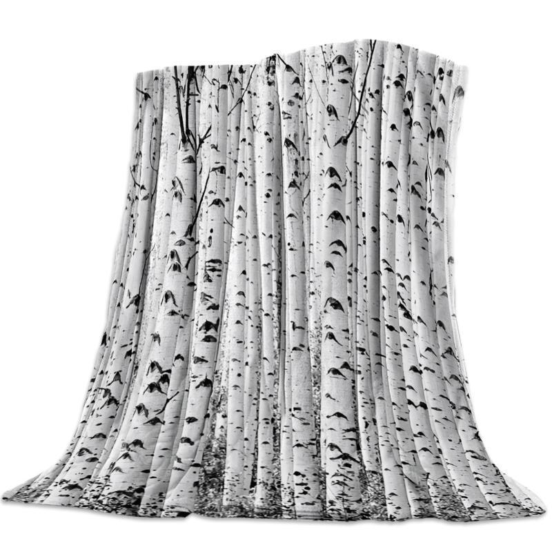 White Birch lançar cobertor colcha macia do velo Air / sofá / cama Inverno Bedsheet