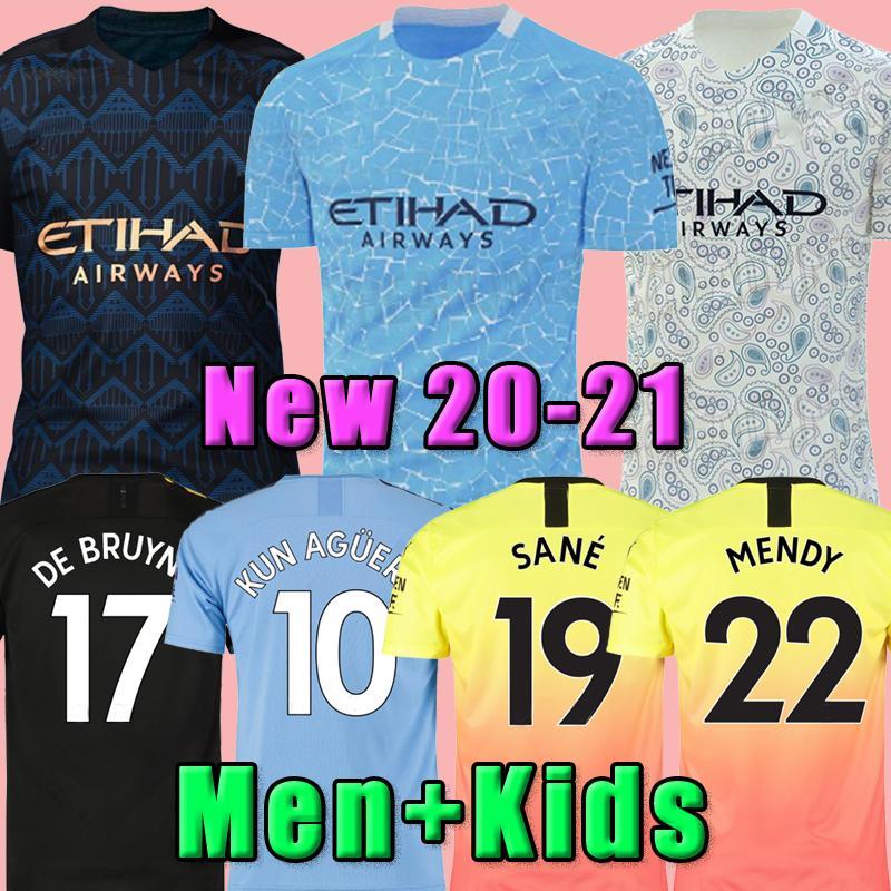 NUOVO 20 21 STERLING De Bruyne Kun Aguero Maglia Manchester Soccer City 2020 2021 SANE camicia JESUS calcio maschile + kids kit set casa divisa