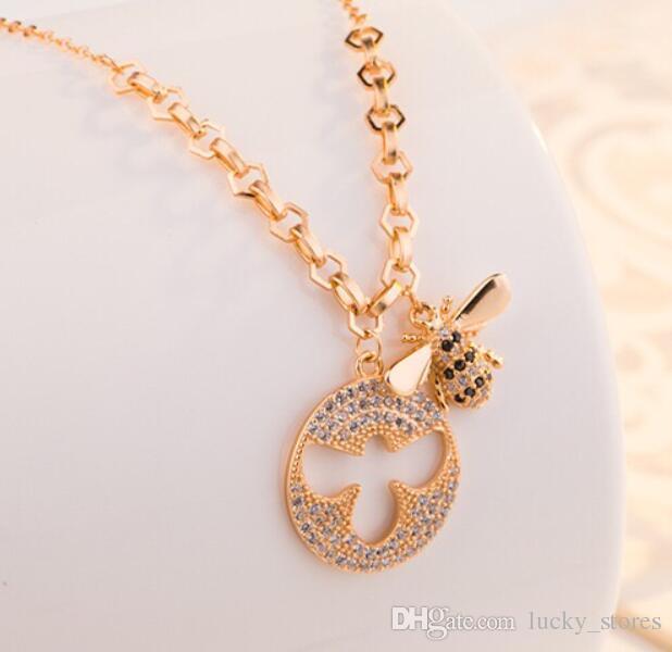 Moda Cadeia Clavicular Bee Pingente Colar De Ouro Prata Banhado Diamante Um Designer Jóias Para Mulheres Colares SW1026 com caixa