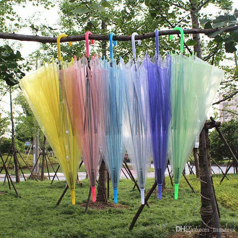 Прозрачный Прозрачный Дождь Зонт ПВХ Купол Дождя Пузырь Дождя Солнцезащитный Козырек с Длинной Ручкой Прямой Зонтик Палочки 20 шт.