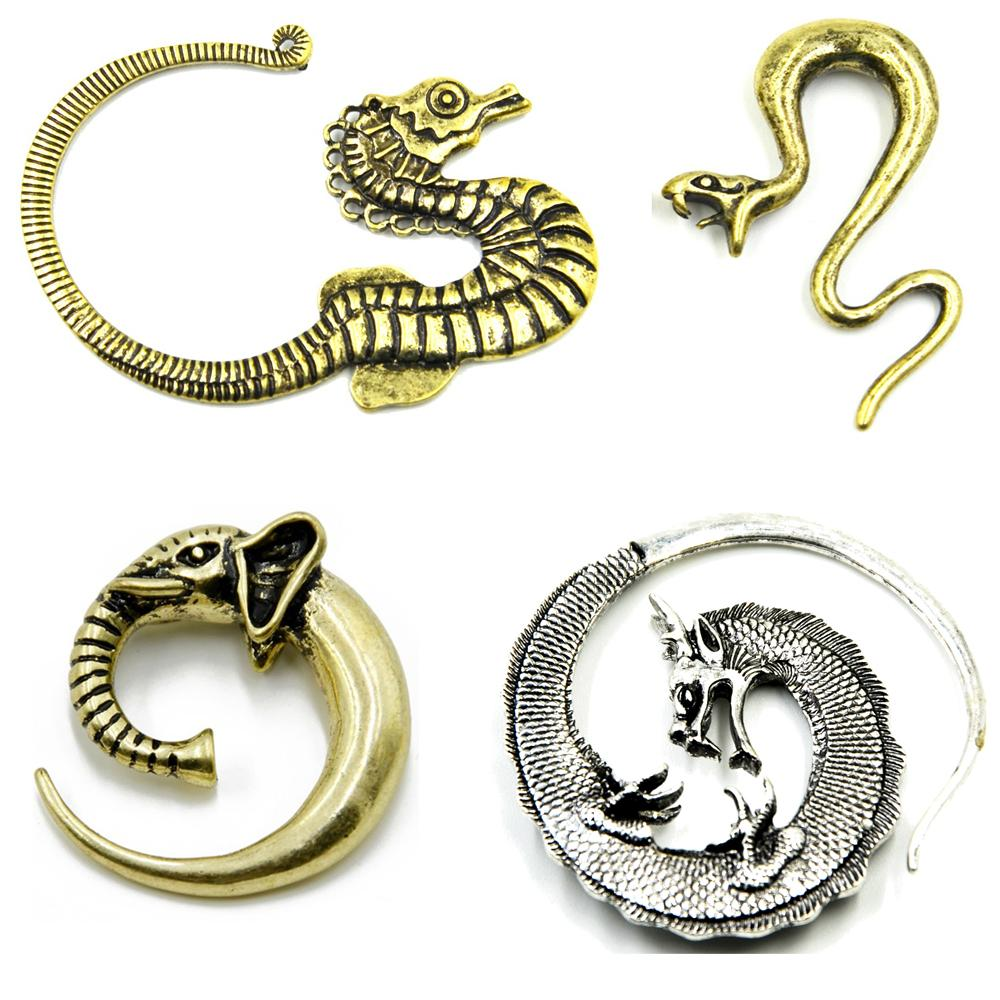 Showlove-1Pc latón DragonSnakeSeahorseElephant tribal del oído espiral de la forma cónica del ampliador enchufes Piercing Medidor de joyería pendientes Cuerpo