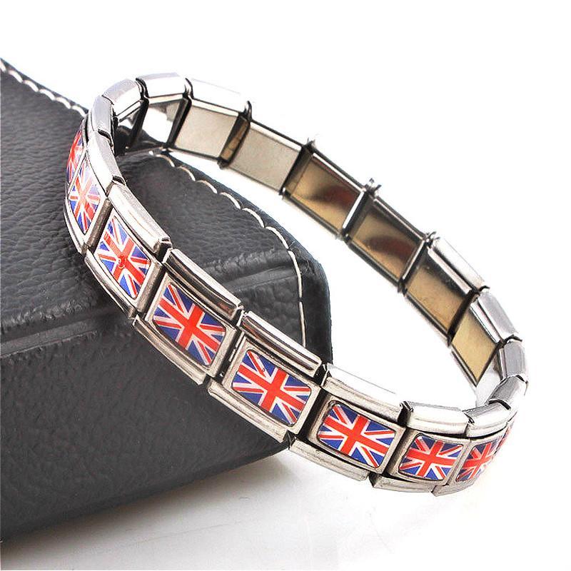 Jewellery British Flag Elastic Elastic Energy Movement Magnetic Germanium Italian Charm Bracelet Fashion Stainless Steel ST12