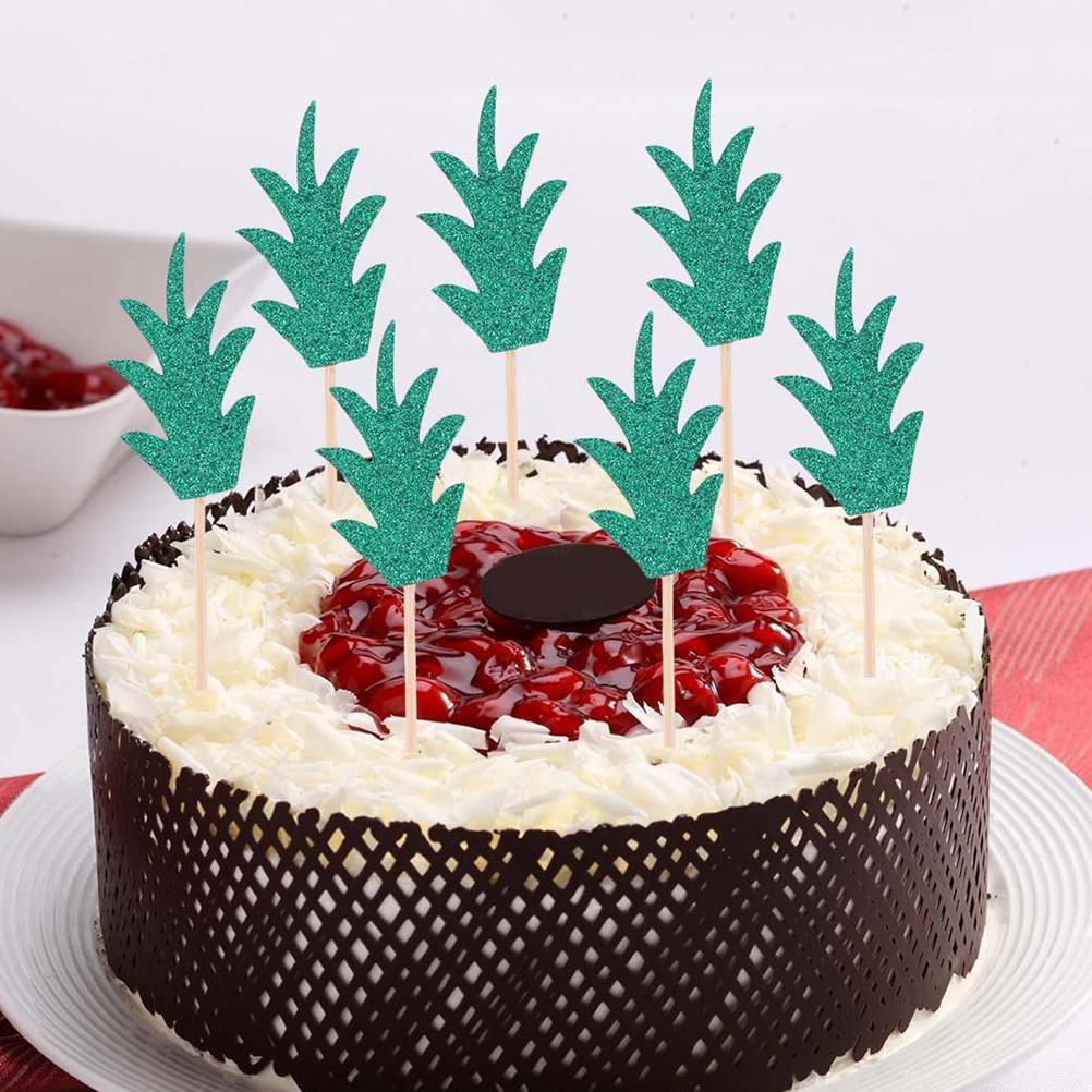 1 Unidades Lovely Piña Hoja Cake Topper Cupcake Toppers Selecciones decorativas Decoración Postre Decoración Suministros de fiesta de boda
