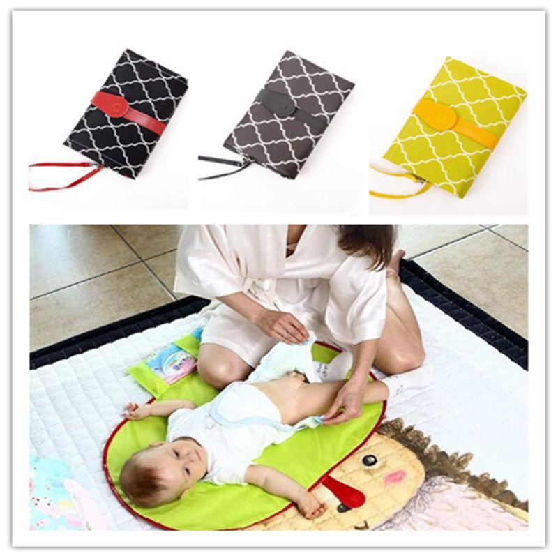 패드 기저귀 목욕 매트 접이식 유아 핸드백 토트 WY34Q 변경 휴대용 기저귀 패드 방수 변화 매트 시트 아기 쿠션을 변경 아이