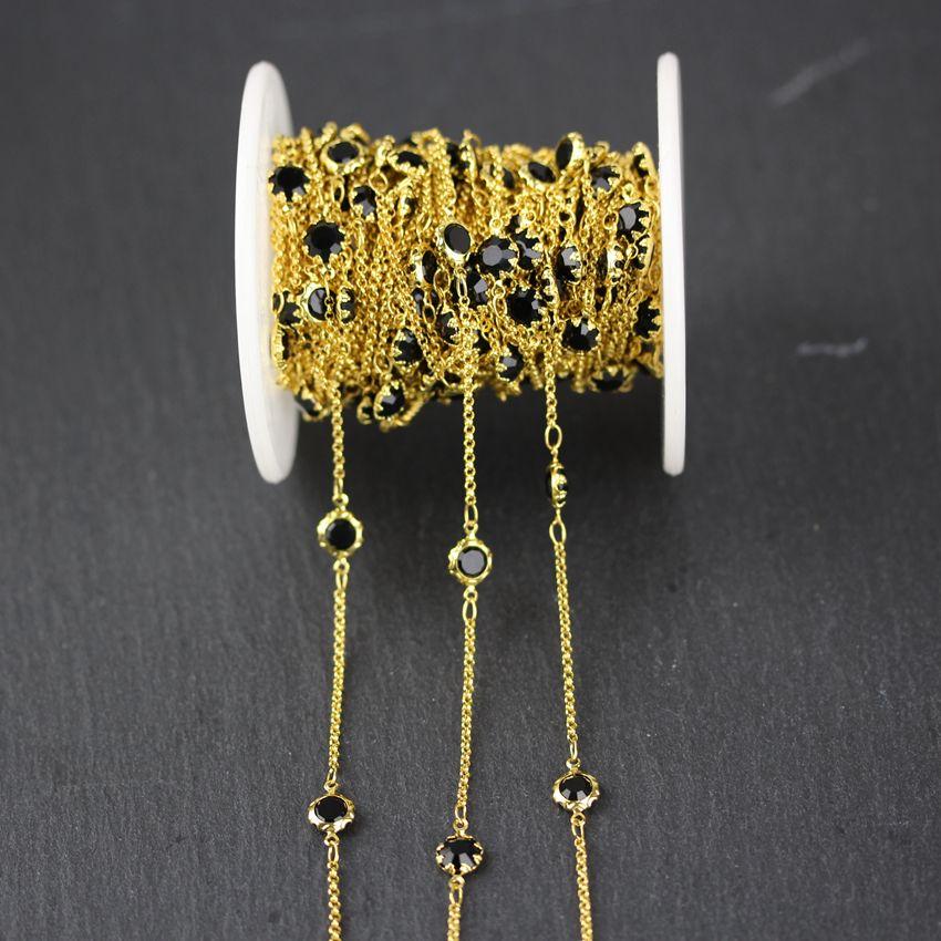 6mm, Vidro Preto Facetado Plana Coin Forma Colar de Corrente, Fio Envolto Banhado A Ouro Flor Afiada Links Loose Beads Cadeia Pulseiras