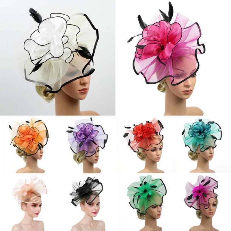 أدوات الحزب الكلاسيكية خمر العصابة زهرة 3D سباقات الزفاف التصميم ريترو شبكة الريشة النسائية السيدات الاكسسوارات hairband