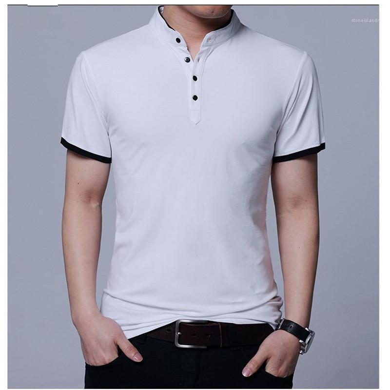 Cor roupa ocasional dos homens do desenhista camisetas Moda Fique Collar manga curta Tees Mens respirável Painéis Botão Pure