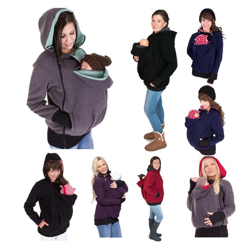الطفل الناقل سترات الكنغر هوديي الشتاء الأمومة ملابس خارجية معطف للنساء الحوامل سميكة الحمل طفل حامل معطف C2211