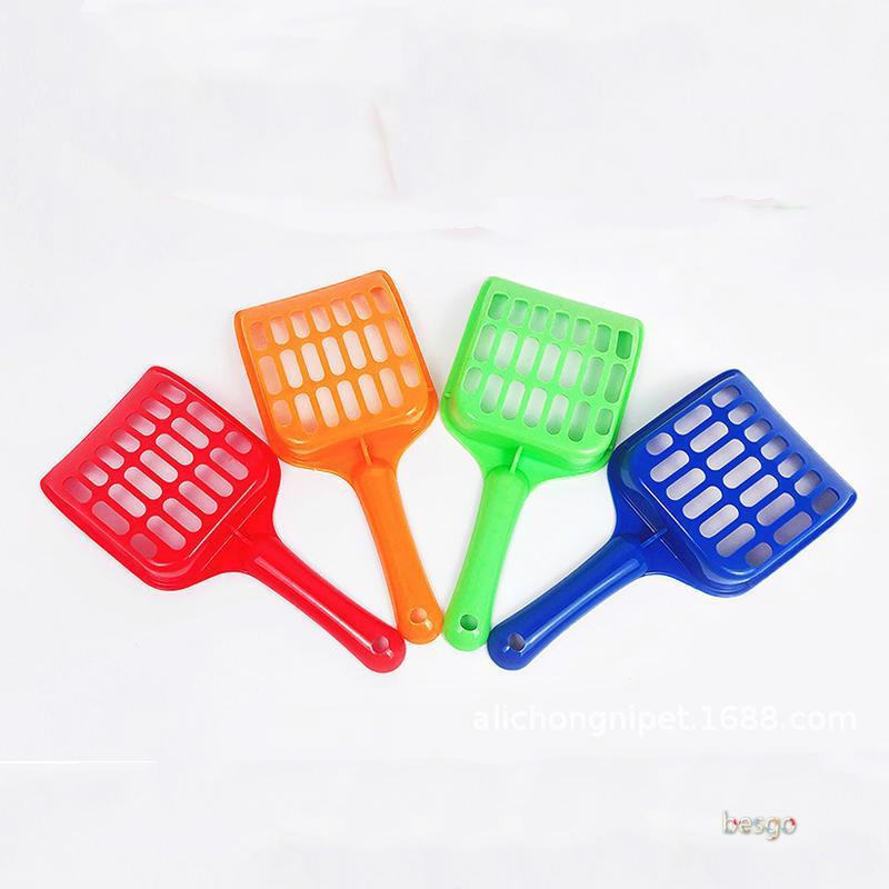 Vente en gros plastique Pet fécal Nettoyage Spade avec poignée Litière Pelle Durable Épaissir Litière Scoop Animaux Fournitures 4 Couleurs BC BH0978