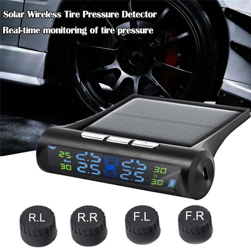 kongyide Tire Pressure Monitor de Solar TPMS sem fio pneu de carro LCD Pressure Monitoring System + 4 sensores externos dropship m6