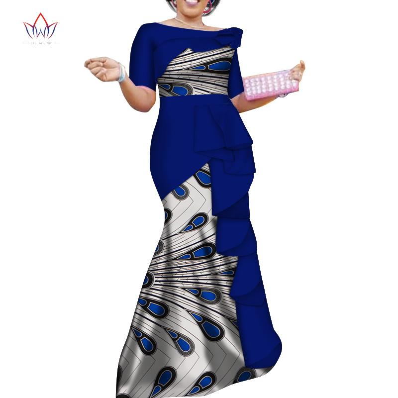 Verão Novo Estilo Africano Vestidos para As Mulheres Dashiki Elegante Vestido de Festa Plus Size Tradicional Africano Roupas BRW WY4152