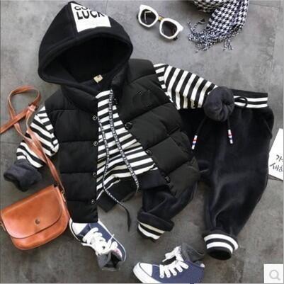 2018 Autumn Winter Baby Clothing Sets Boys Clothes Sets Boys Thick Vest + Plus Hoodie + Plush Pants 3pcs/sets Child Clothing Set J190513