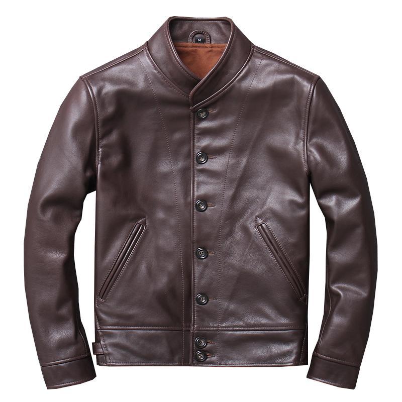 ZVAQS 남성 정품 가죽 재킷 및 코트 100 % 진짜 암소 소 가죽 오토바이 브라운 노란색 남성 의류 Jaqueta 드 Couro 팀