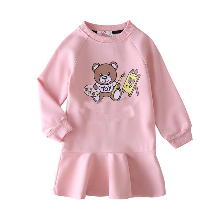 Bahar Yeni Kız kız Uzun Kollu fırfır elbise çocuk bebek Kazak Harf eşofmanı çocuklar tasarımcı kıyafetleri kız JJ10 giyiniyor