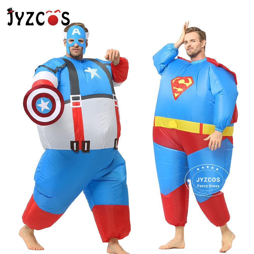 Inflatable superman costume carnival cosplay superhero costume halloween costume