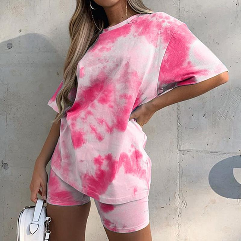 Shipping in 24 hours Casual Tie Dye Two Piece Set Women Tracksuit Fashion Summer Top and Biker Shorts Matching Sets Outfits