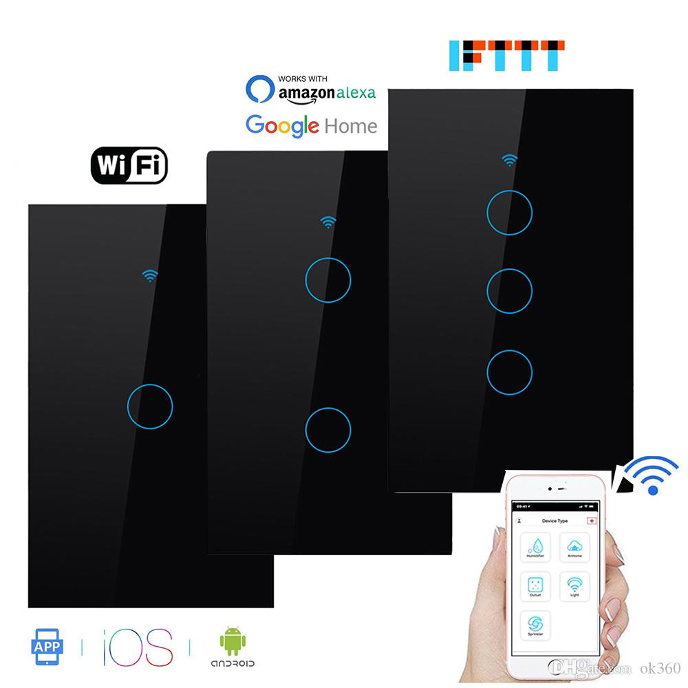 Mudar US120 Wifi inteligente Screen Light Vidro Touch Panel APP inteligente parede Wireless Switch trabalho com Alexa Página inicial do Google 1/2/3/4 Gang