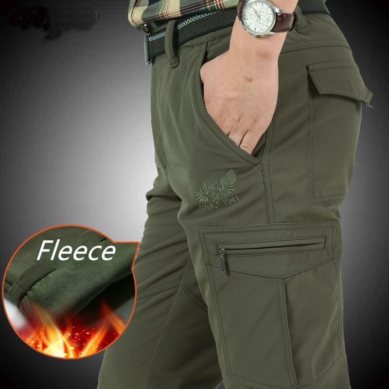 Nianjeep Fleece Calças de inverno grossas Homens À Prova de Vento Calças Quentes À Prova de água Casuais Homens Exército Carga macho 4xl