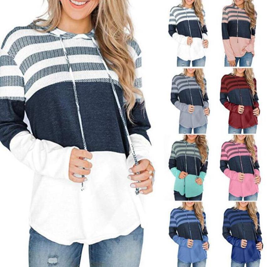 Sudadera con capucha con cordón de patchwork para mujer 8 colores Streetwear Sudadera informal Top al aire libre suelta de manga larga a rayas Streetwear LJJO7130