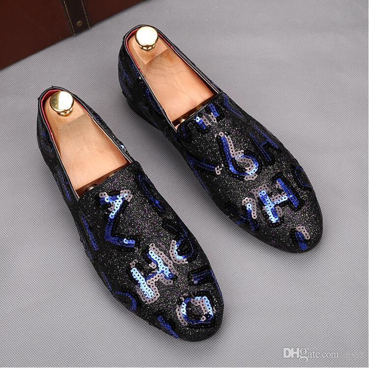 Moda fatta a mano Trend Show Calzature Tacco piatto Slip-On Scarpe casual maschili Chaussure Homme Uomo Scarpe da ricamo J90
