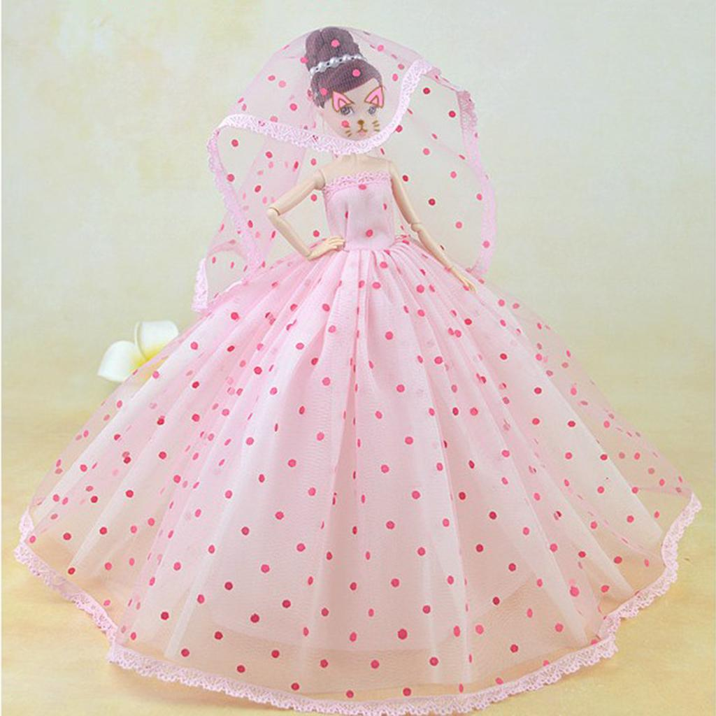 ON SALE-Barbie Doll sized Cloth//Accessory-1 Fashion Dress+1 Veil+1 Gloves-BEST@@