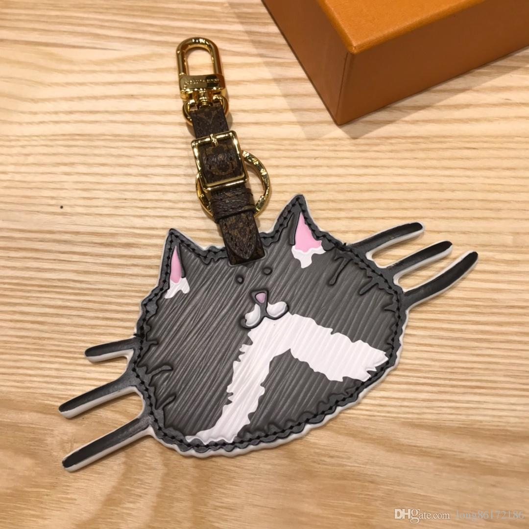 Designer Fashion Accessories Cat Face Pattern CATOGRAM Bag and Keychain Car Key Accessories MP2282 Calfskin Gold Spring Buckle Original Pack